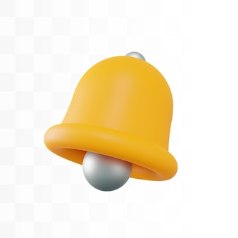 Icône de cloche dorée 3d psd gratuit