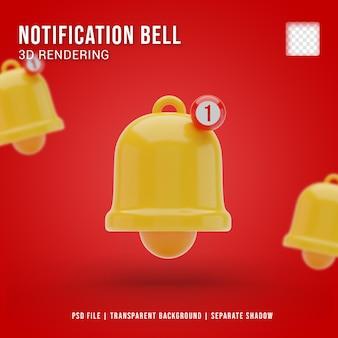 Icône de cloche de notification 3d