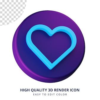 Icône coeur concept isolé de rendu 3d de haute qualité