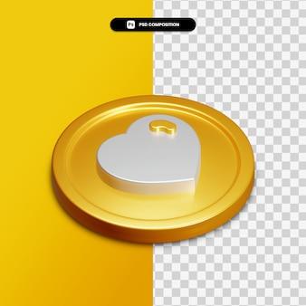 Icône de coeur de rendu 3d sur cercle doré isolé