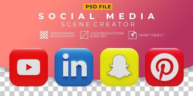 Icône de collection de logo de médias sociaux de rendu 3d