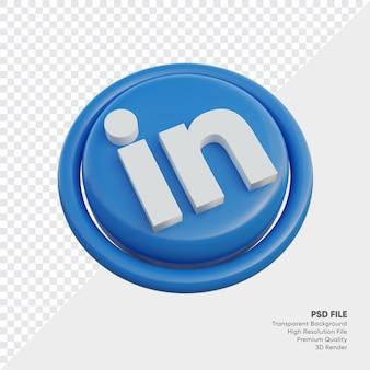 Icône de concept de logo de style 3d isométrique linkedin en rond isolé