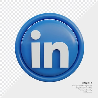 Icône de concept de logo de style 3d linkedin en rond isolé