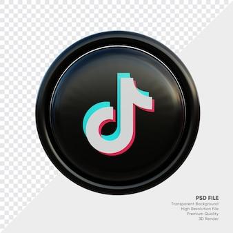 Icône de concept de logo de style 3d tiktok en rond isolé