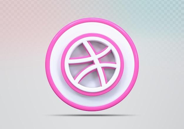 Icône de concept de rendu 3d dribbble