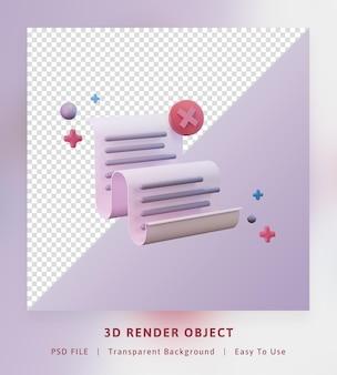Icône de concept de rendu 3d envoyer la fiche technique de papier n'a pas réussi à envoyer la couleur