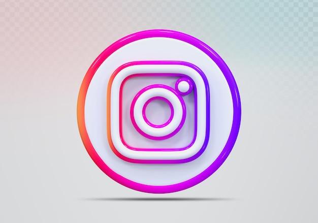 Icône de concept rendu 3d instagram