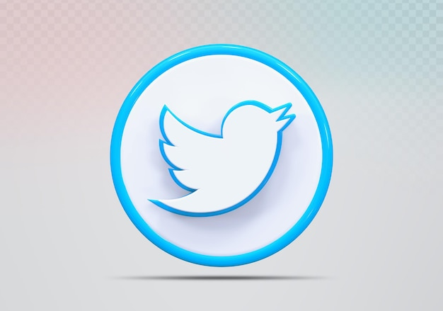 Icône de concept de rendu 3d twitter