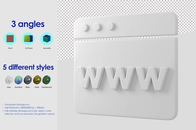 Icône de concept de site web 3d