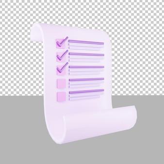 Icône de conception 3d liste de contrôle des données sur papier illustration pour les entreprises