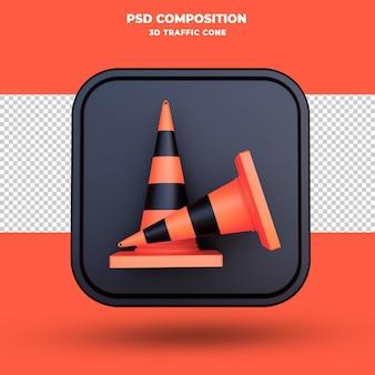 Icône de cône de signalisation 3d render isolé