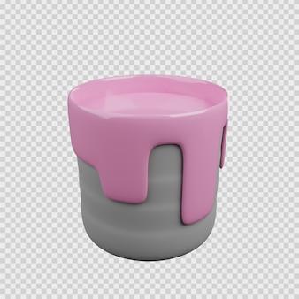 L'icône de construction de concept de rendu 3d un seau de peinture murale