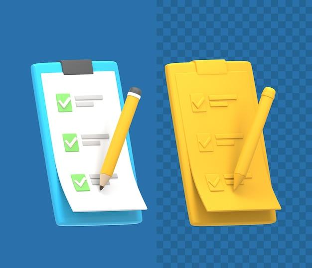 Icône de crayon de liste de contrôle du presse-papiers 3d