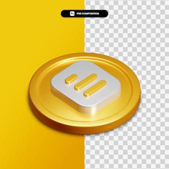 Icône de document de rendu 3d sur cercle doré isolé
