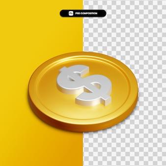 Icône de dollar de rendu 3d sur cercle doré isolé