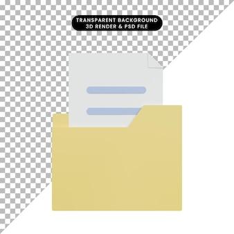 Icône de dossier d'illustration 3d avec fichier