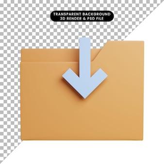 Icône de dossier d'illustration 3d avec icône de téléchargement