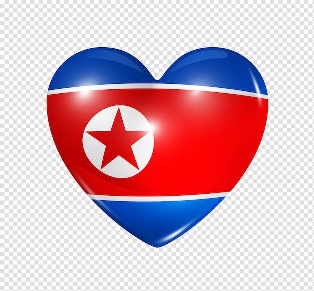 Icône de drapeau 3d coeur corée du nord isolé