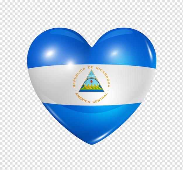 Icône de drapeau 3d coeur nicaragua isolé