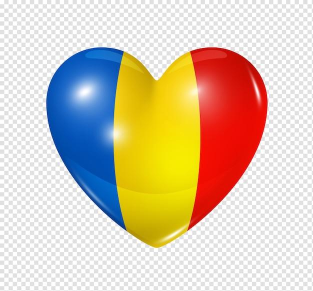 Icône de drapeau 3d coeur roumanie isolé