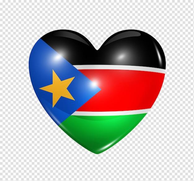 Icône de drapeau coeur 3d amour symbole soudan du sud isolé sur blanc avec un tracé de détourage