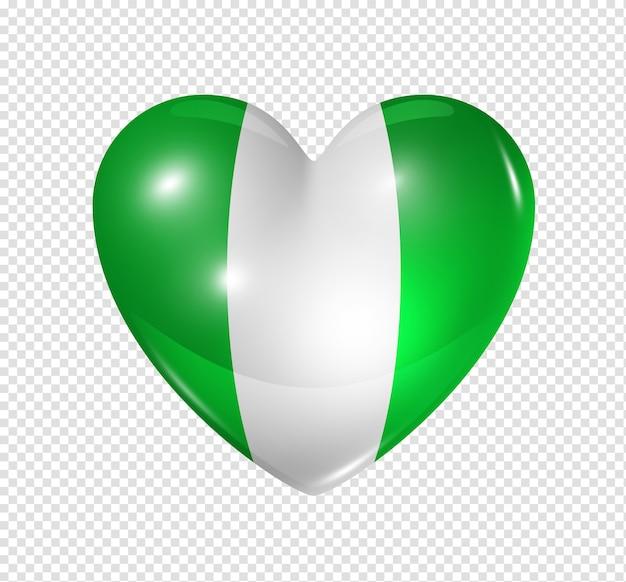 Icône de drapeau du nigeria coeur 3d isolé