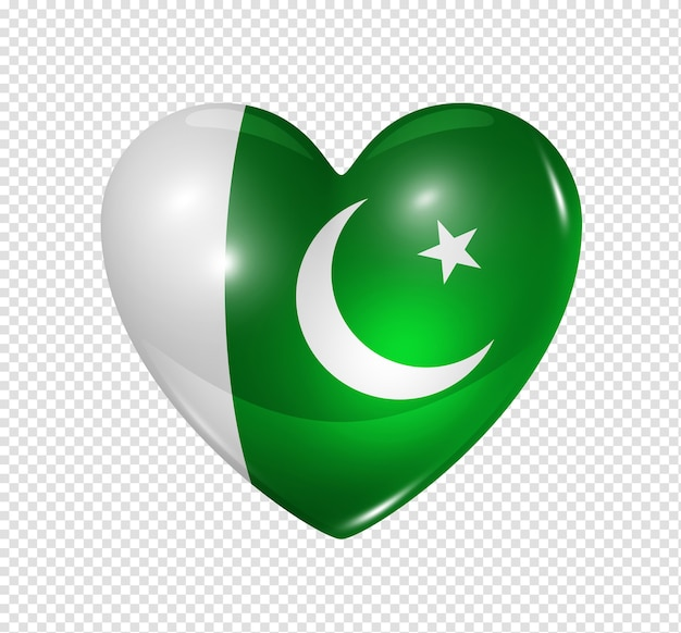 Icône de drapeau du pakistan coeur 3d isolé