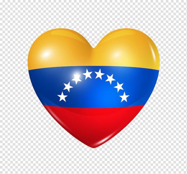 Icône de drapeau du venezuela coeur 3d isolé