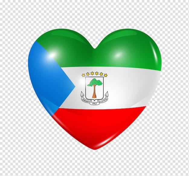 Icône de drapeau de guinée équatoriale coeur 3d isolé