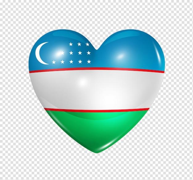 Icône de drapeau de l'ouzbékistan coeur 3d isolé
