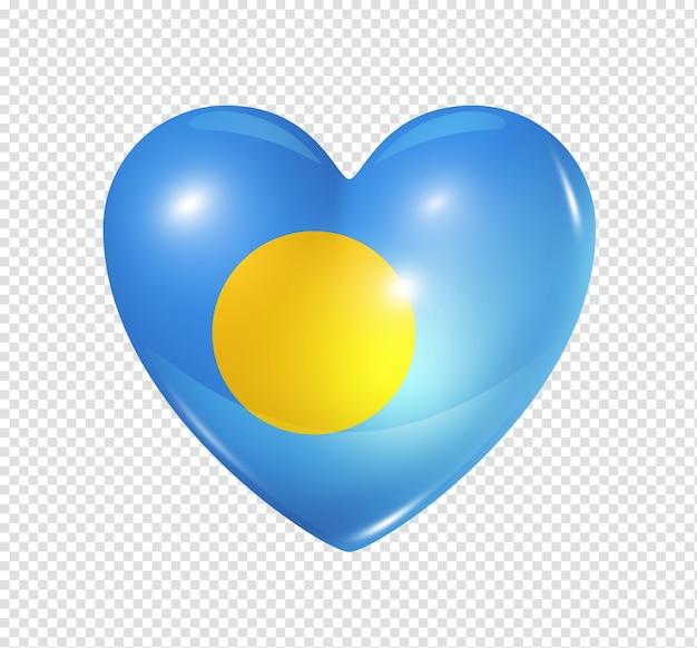 Icône de drapeau de palau coeur 3d isolé