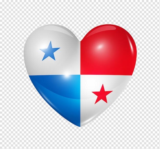Icône de drapeau de panama coeur 3d isolé