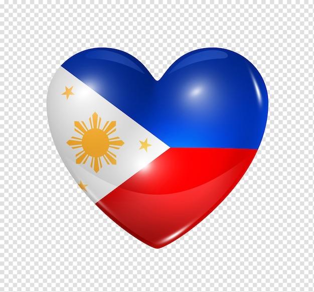Icône de drapeau philippines coeur 3d isolé