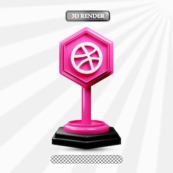 Icône de dribble isolé 3d illustration des médias sociaux
