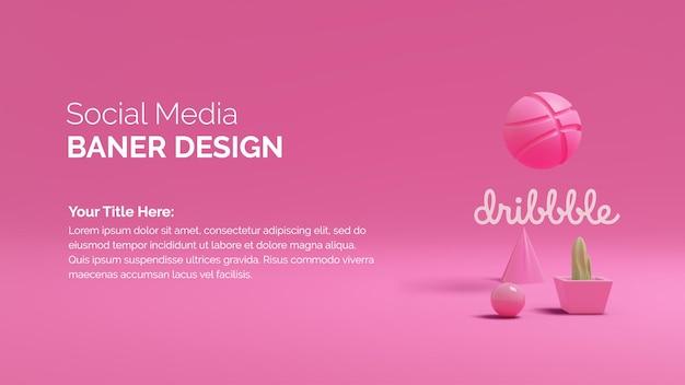 Icône du logo dribble sur fond de rendu 3d