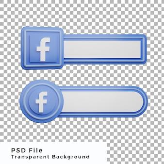 L'icône du logo facebook du tiers inférieur 3d regroupe divers objets de haute qualité