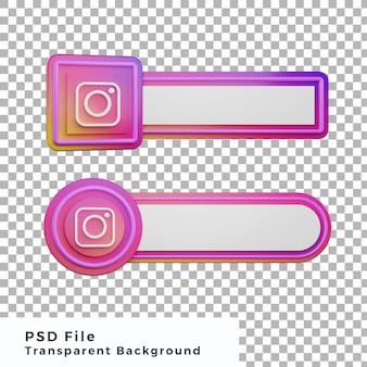 L'icône du logo instagram du tiers inférieur 3d regroupe divers objets de haute qualité