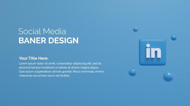 Icône du logo linkedin sur le bouton arrière-plan de rendu 3d