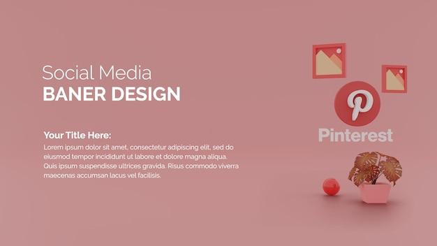 Icône du logo pinterest sur fond de rendu 3d