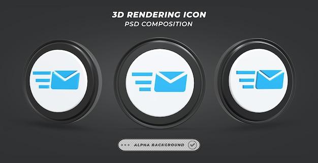 Icône d'envoi de courrier noir et blanc en rendu 3d