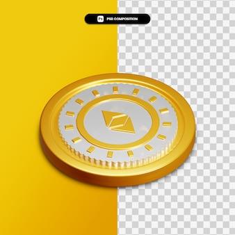 Icône d'ethereum de rendu 3d sur cercle doré isolé