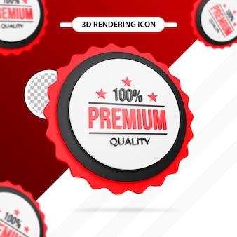 Icône d'étiquette de rendu 3d de qualité supérieure à 100 %