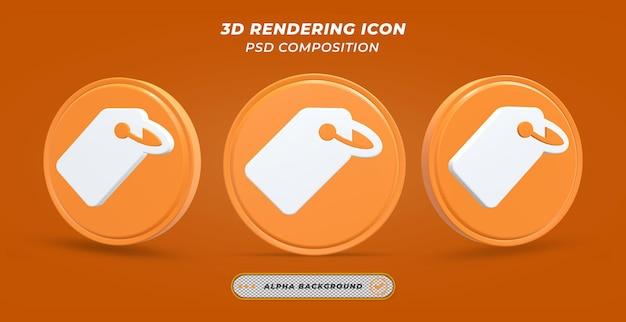 Icône d'étiquette volante dans le rendu 3d