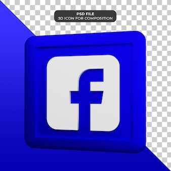 Icône facebook 3d illustration