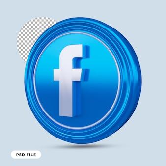 Icône facebook 3d render isolé