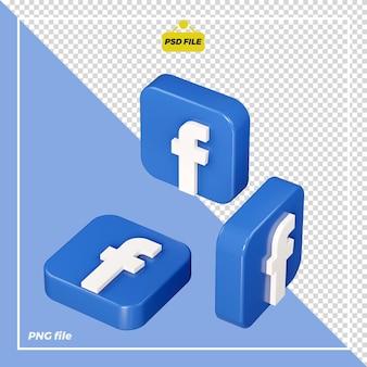 Icône facebook 3d de tous les côtés