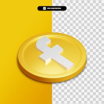 Icône facebook de rendu 3d sur cercle doré isolé