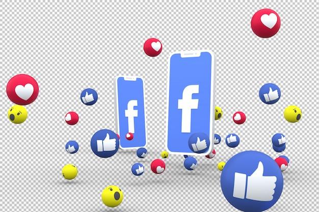 Icône facebook sur smartphone à l'écran et réactions facebook amour sur fond transparent