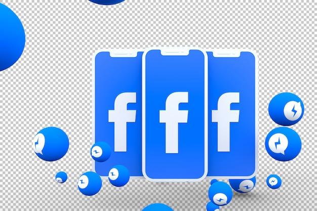 Icône facebook sur les smartphones à l'écran et réactions de facebook messenger