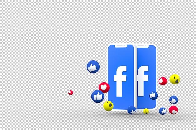Icône facebook sur les smartphones à l'écran et réactions facebook